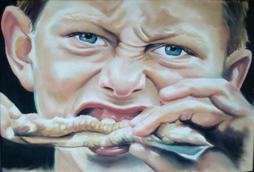 Pasteltekening paling eten